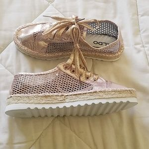 Aldo Rose Gold Espadrille Shoes. Size 7